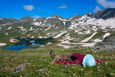 Free Hiker Lies Royalty Free Stock Photography - 14576697