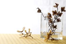 Autoumnal Interior Decoration With Dried Flowers Royalty Free Stock Photos