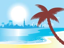 Free Sunny Blue Ocean Landscape  Illustration Stock Photography - 14577742