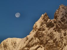 Mountain And The Moon Stock Photography