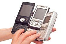Free Three Mobile Phones Royalty Free Stock Photo - 14578215
