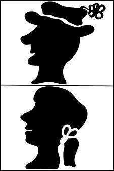 Free Man & Woman Profiles Illustration Stock Image - 14578241