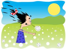 Free Girl And Dandelion Royalty Free Stock Images - 14578319