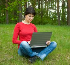 Free Girl With Laptop Stock Image - 14579571