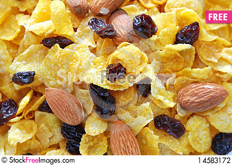 Free Healthy Cereal With Raisins And Nuts Stock Photography - 14583172