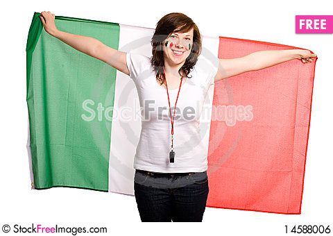 Free Female Supporter Of Italian Team Royalty Free Stock Image - 14588006