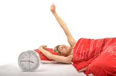 Free Girl Waking Up In The Morning Royalty Free Stock Image - 14580406