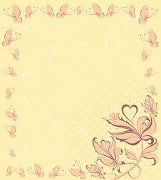 Free Grunge Background With Flowers Royalty Free Stock Photography - 14581447