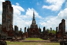 Ruins Of The Grand Hall In Ayutthaya Royalty Free Stock Photography