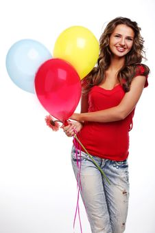 Free Woman And Balloons Stock Photography - 14583032