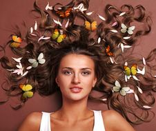 Free Woman And Butterflies Stock Images - 14583034