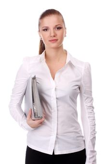 Free Businesswoman With Folder Royalty Free Stock Image - 14583036