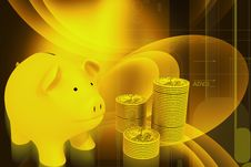 Free Piggy Bank And Gold Coins Stock Photography - 14583852