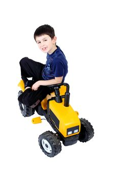 Free Small Boy On The Yellow Tractor Stock Images - 14584194