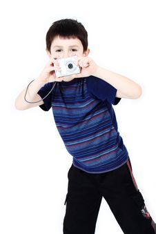 Free Young Boy With Digital Camera Royalty Free Stock Images - 14584249