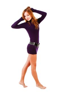Free Sweet Alluring Young Girl In Violet Tunic Stock Images - 14585774