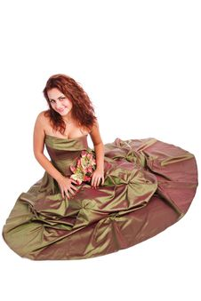 Beautiful Young Girl In Dress On Floor Royalty Free Stock Photos
