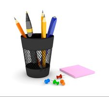 Free Glass With Pencils Royalty Free Stock Photos - 14586018