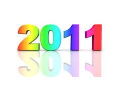 Free Year 2011 In Rainbow Colors Royalty Free Stock Image - 14586726
