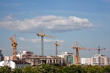 Building Cranes Panorama Royalty Free Stock Image