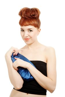 Free Girl With Blue Bag Royalty Free Stock Photo - 14589025