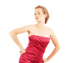 Free Young Woman In Red Dress Royalty Free Stock Image - 14589046