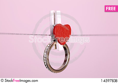 Free Ring Hanging On The Clothesline Royalty Free Stock Photos - 14597838