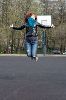 Free Girl Jumping Outdoor Stock Image - 14590321