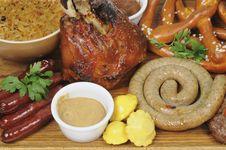 Barbecue Pork, Fried Sausages Closeup Royalty Free Stock Photos