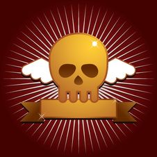 Free Winged Skull With Banner Royalty Free Stock Images - 14591589