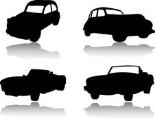Free Silhouettes Of Cars, Motorcycles And Buses Royalty Free Stock Images - 14592329