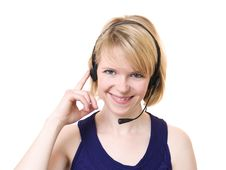 Free Woman With Headset Royalty Free Stock Photo - 14593595