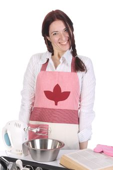 Beautiful Housewife Preparing Stock Photography