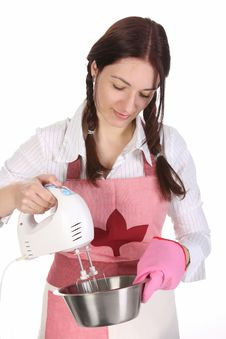 Housewife Preparing With Kitchen Mixer Stock Photo