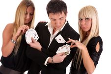 Free Magician Make Performance Cards Royalty Free Stock Photography - 14594087
