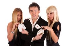 Free Magician Make Performance Cards Royalty Free Stock Image - 14594106