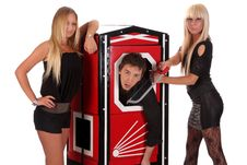 Free Magician And Two Beauty Girls In A Magic Box Stock Photo - 14594390