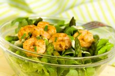 Salad With Prawns,Lettuce,Tomatoes And Olive Stock Images