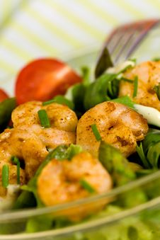 Salad With Prawns,Lettuce,Tomatoes And Olive Stock Photo