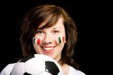Free Young Female Italian Soccer Team Fan Isolated Royalty Free Stock Photo - 14594945