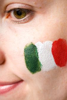 Young Female Italian Team Fan Isolated On Black Stock Photos
