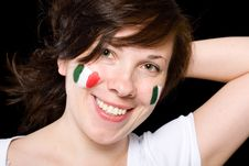 Young Female Italian Team Fan Isolated On Black Stock Image