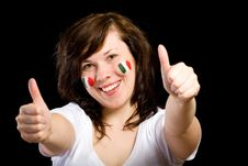 Free Young Female Italian Team Fan Isolated On Black Royalty Free Stock Images - 14595149