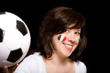 Young Female Italian Soccer Team Fan Isolated Royalty Free Stock Photo