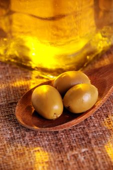 Oliveoil And Olives Stock Photos