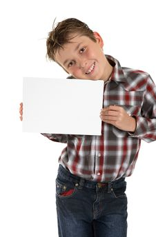 Free Boy Holding Your Sign Advert Or Message Royalty Free Stock Photos - 14596478
