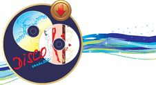 Free Two Music Disk With Button. Banner Royalty Free Stock Image - 14598136