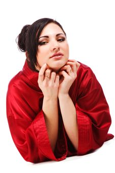 Free Sensuality Young Woman In Red Gown Stock Photography - 14599142