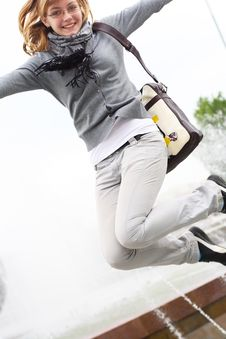 Free The Girl Makes A Jump Stock Image - 14599701