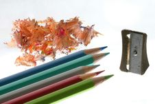 Free Colored Pencils With Sharpener Royalty Free Stock Photography - 1460047